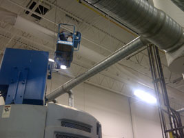 High Angle equipment and experience will safely clean these plant ducts.